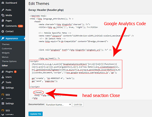 Google Analytics WordPress Installation